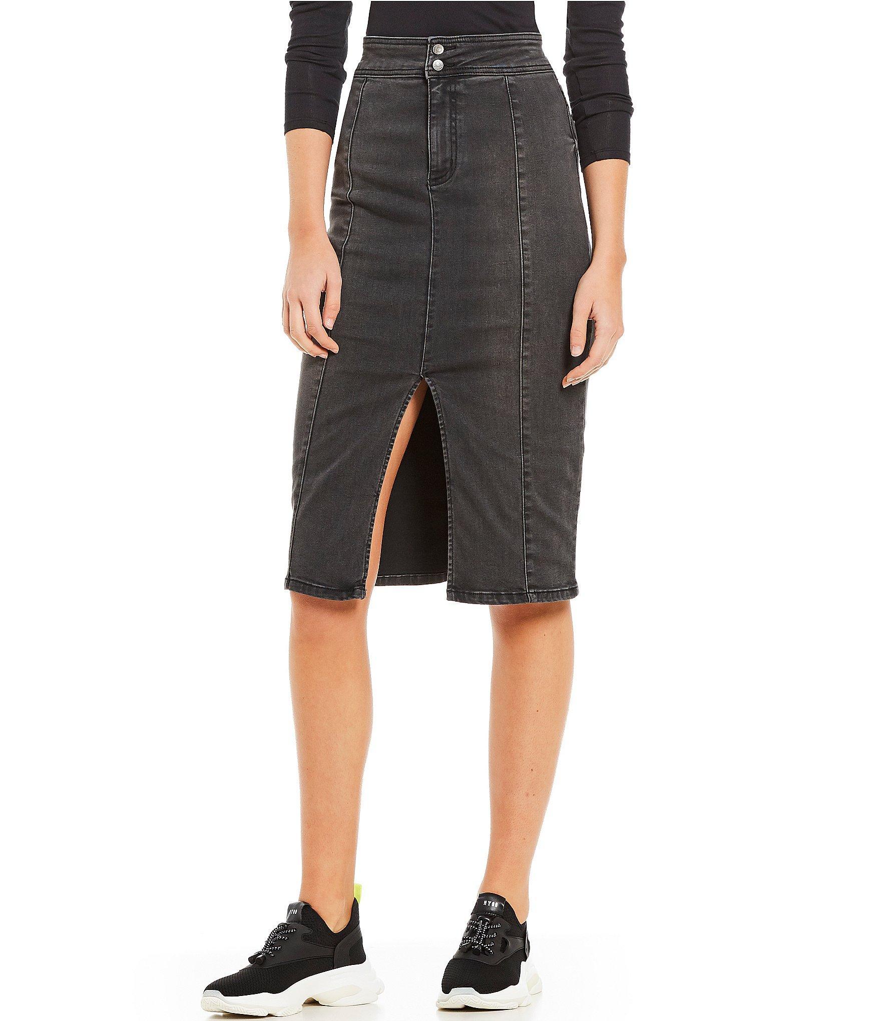 1ff9068926db Free People Maddie Denim Midi Length Pencil Skirt in Black - Save 66 ...