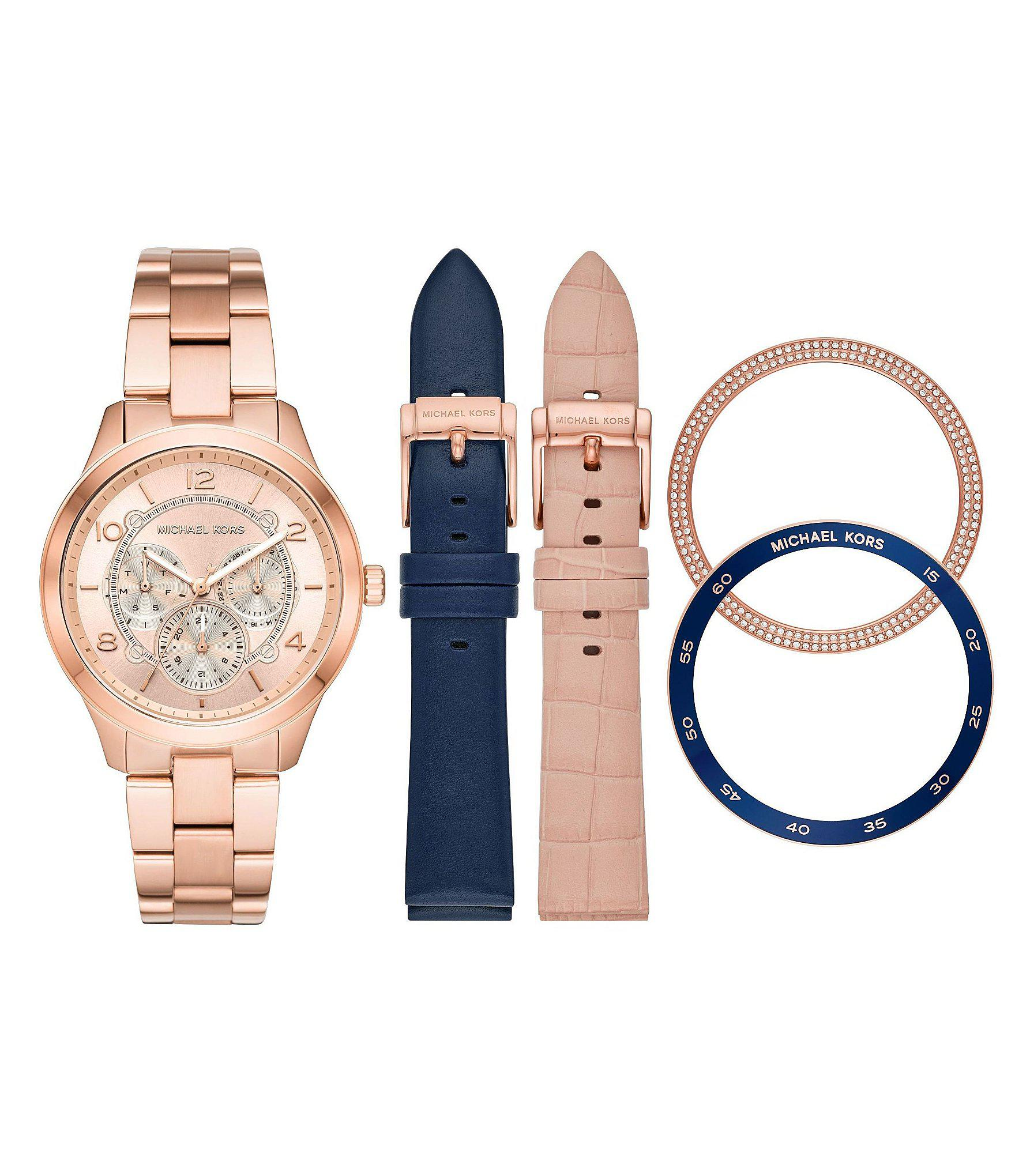5686f01c5868 Michael Kors - Multicolor Runway Rose Gold-tone And Leather Interchangeable  Watch Set - Lyst. View fullscreen