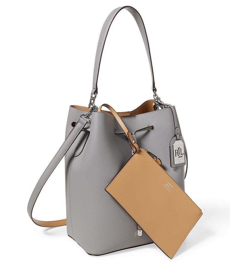 7c3704aff5 Lyst - Lauren by Ralph Lauren Debby Drawstring Bag With Pouch in Gray