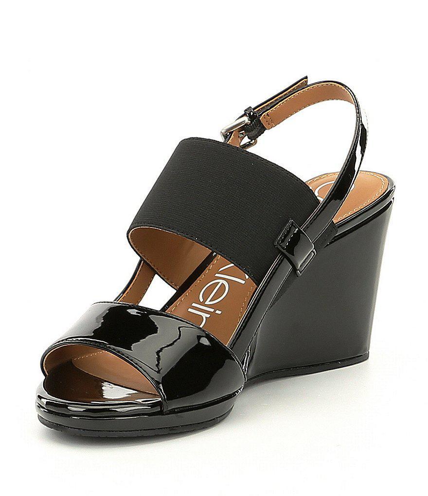 Calvin Klein Bethan Elastic Wedge Sandals yfmfdu3F