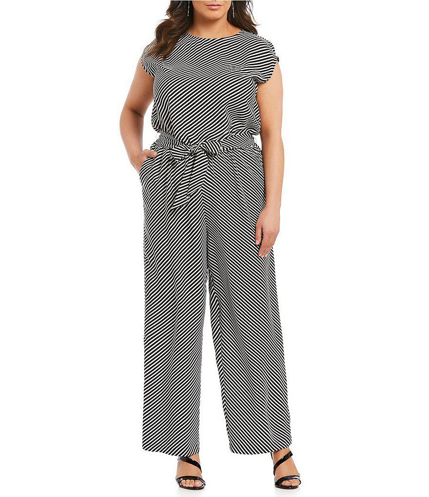 3aad25fd19bf Lyst - Vince Camuto Plus Diagonal Striped Jumpsuit in Black
