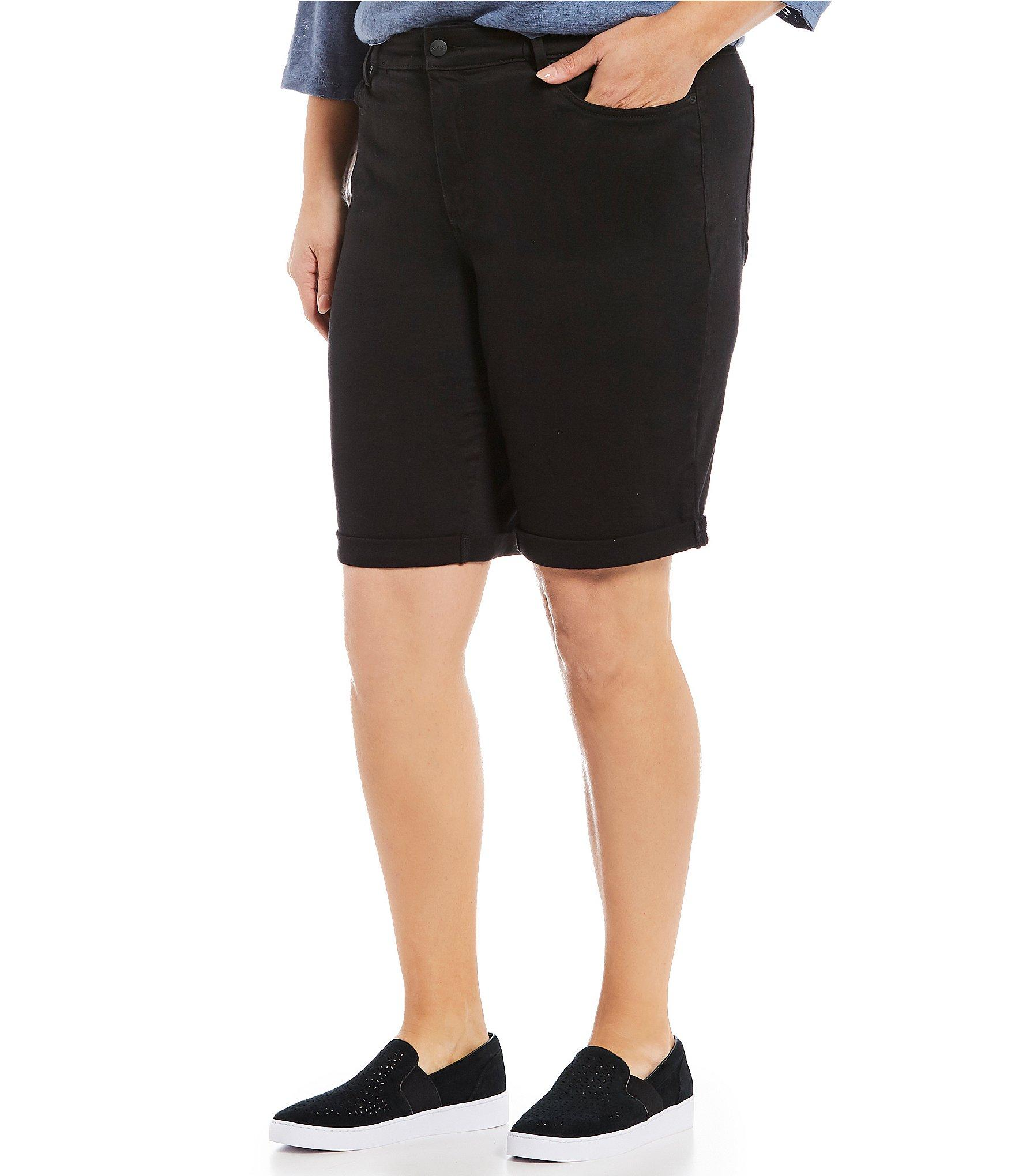 e38ca93e4e6 Lyst - NYDJ Plus Size Briella Roll Cuff Bermuda Shorts in Black