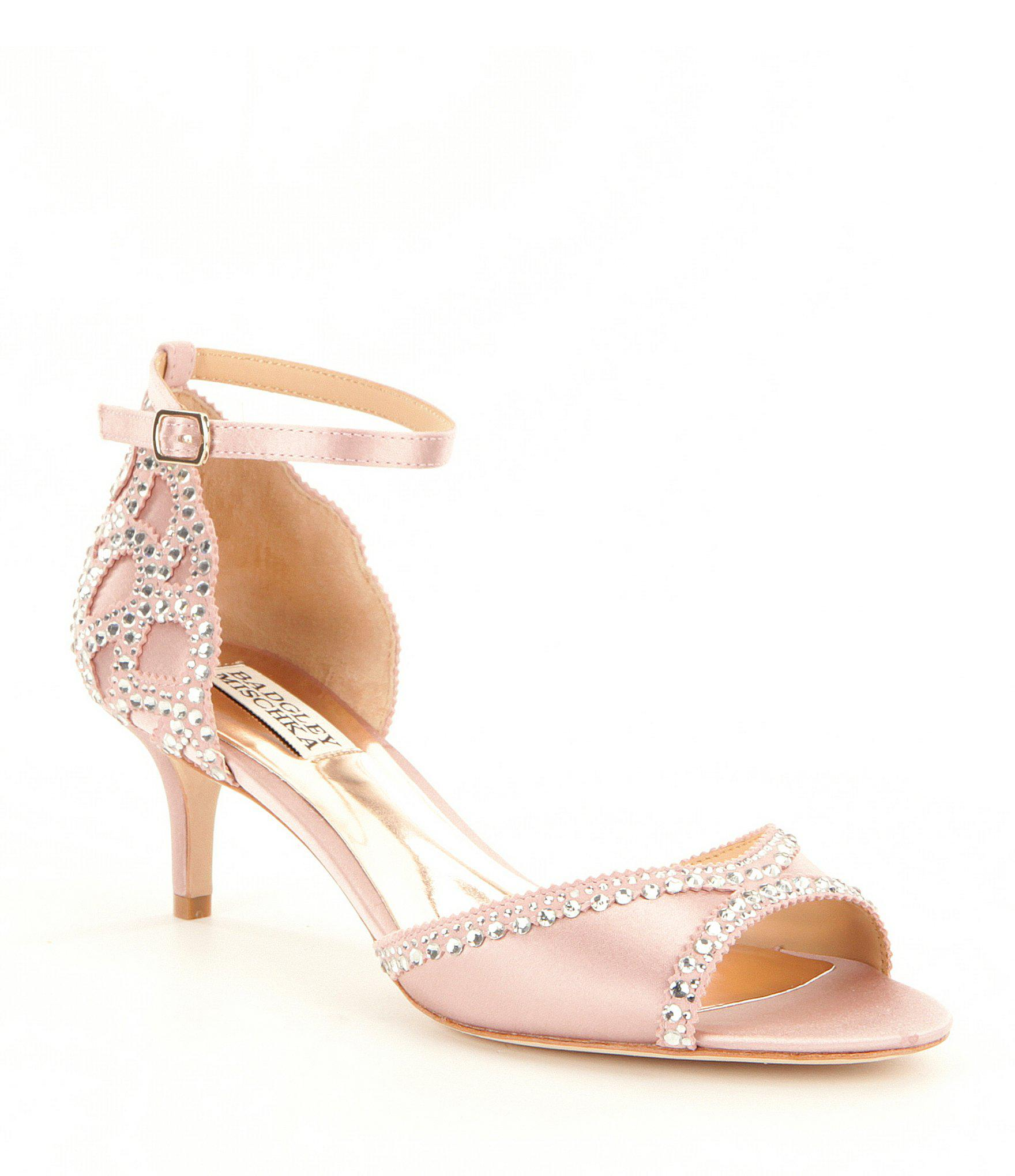 2e93aafd01a Badgley Mischka Gillian Jeweled Satin   Suede Dress Sandals in Pink ...