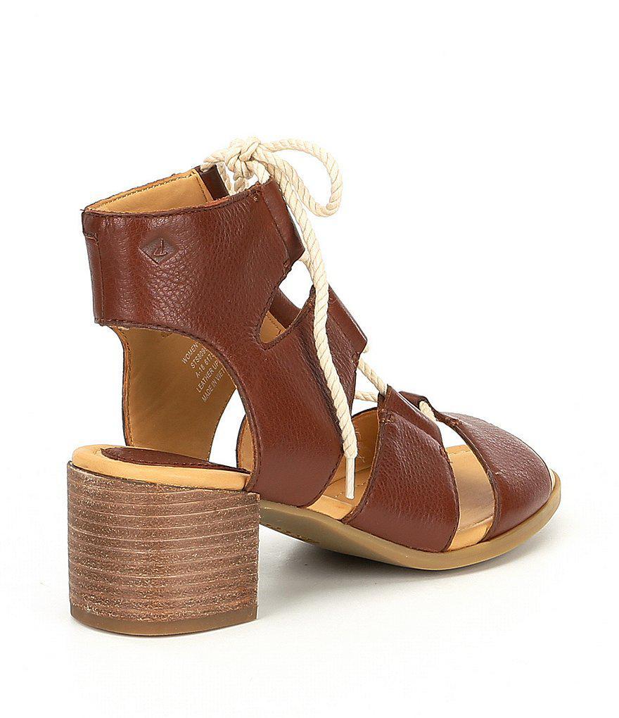 Sperry Vivienne Lia Ghillie Block Heel Sandals yAWz2
