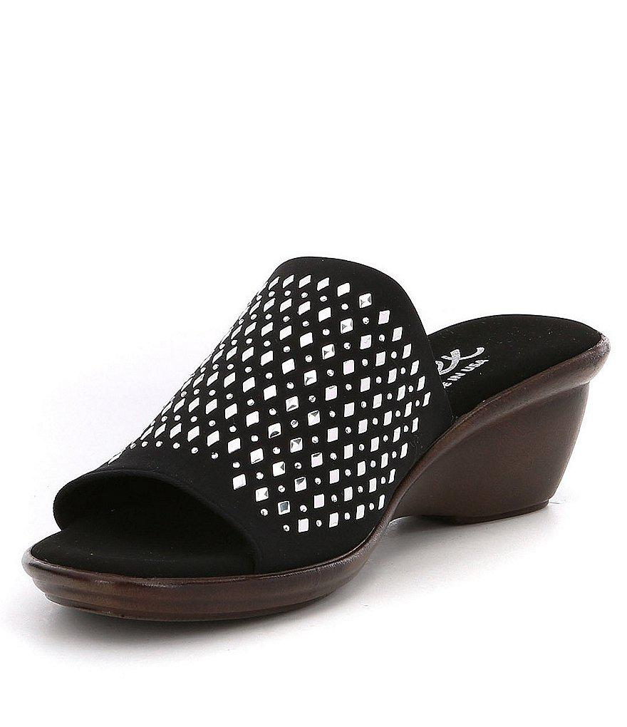 Izzy Rhinestone Studded Detail Leather Slip-On Sandals 6s7fa