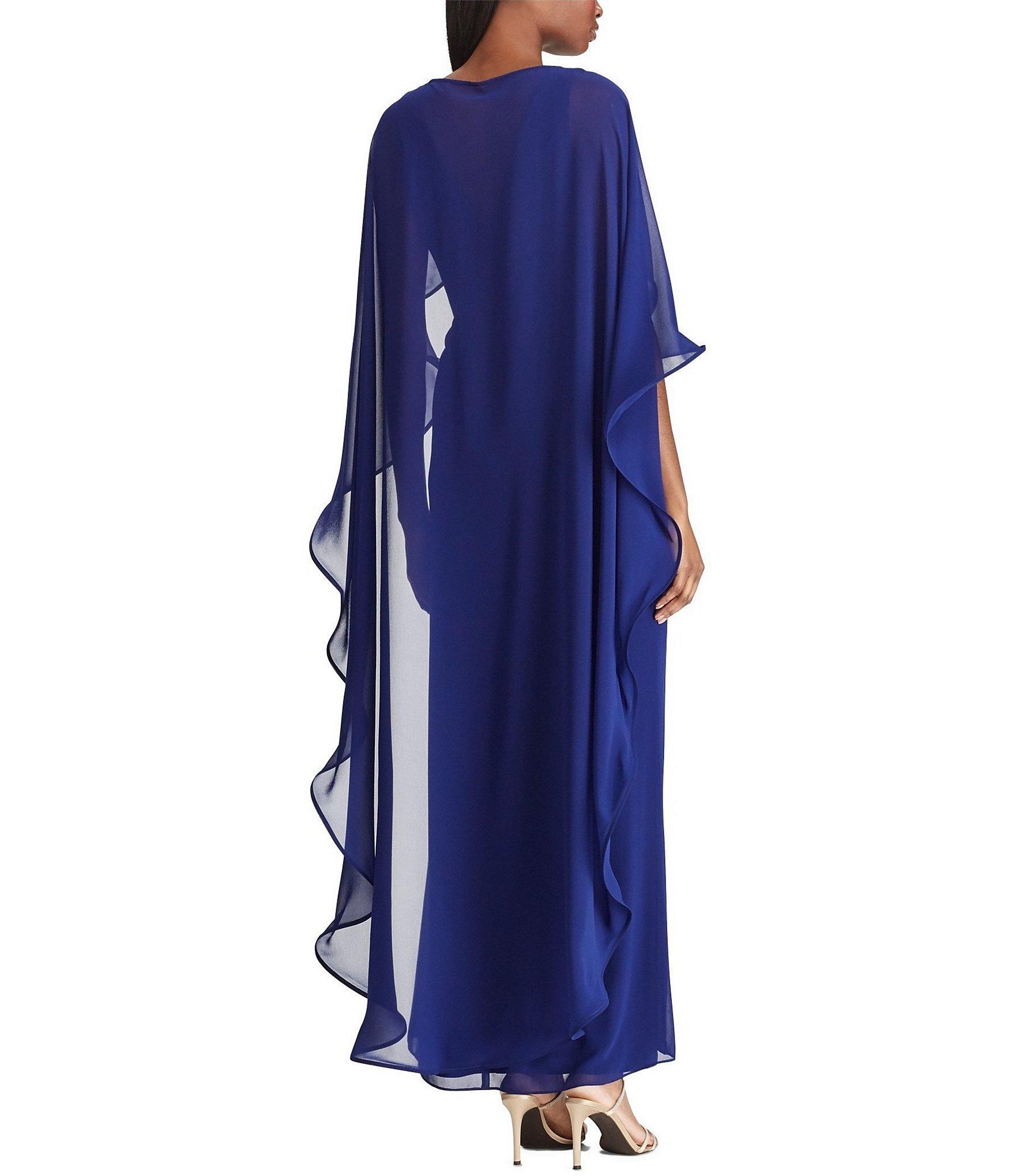 512d1c7ada6 Lauren by Ralph Lauren - Blue Cape Overlay Georgette Gown - Lyst. View  fullscreen