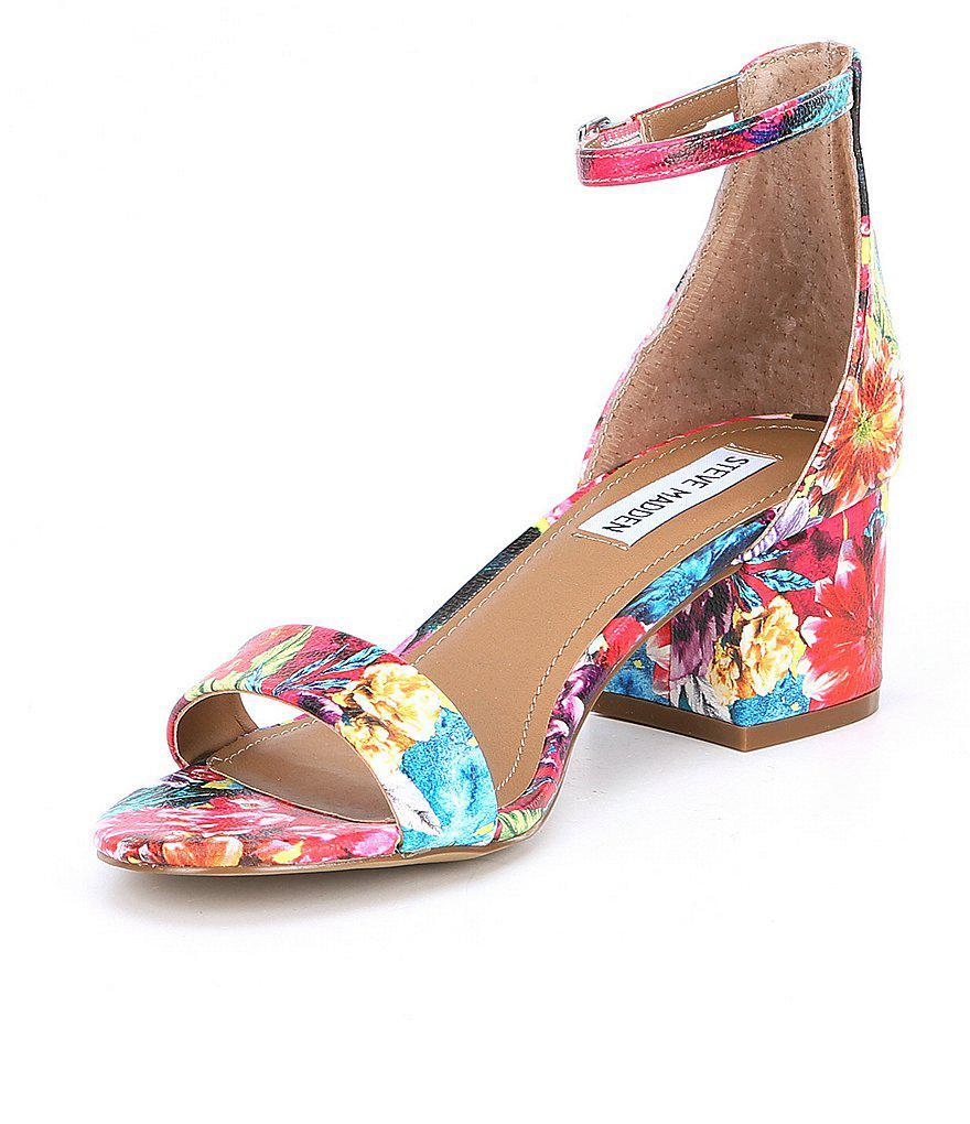 Steve Madden Irenee Floral Print Multi Block Heel Dress Sandals x8X7cj0X4