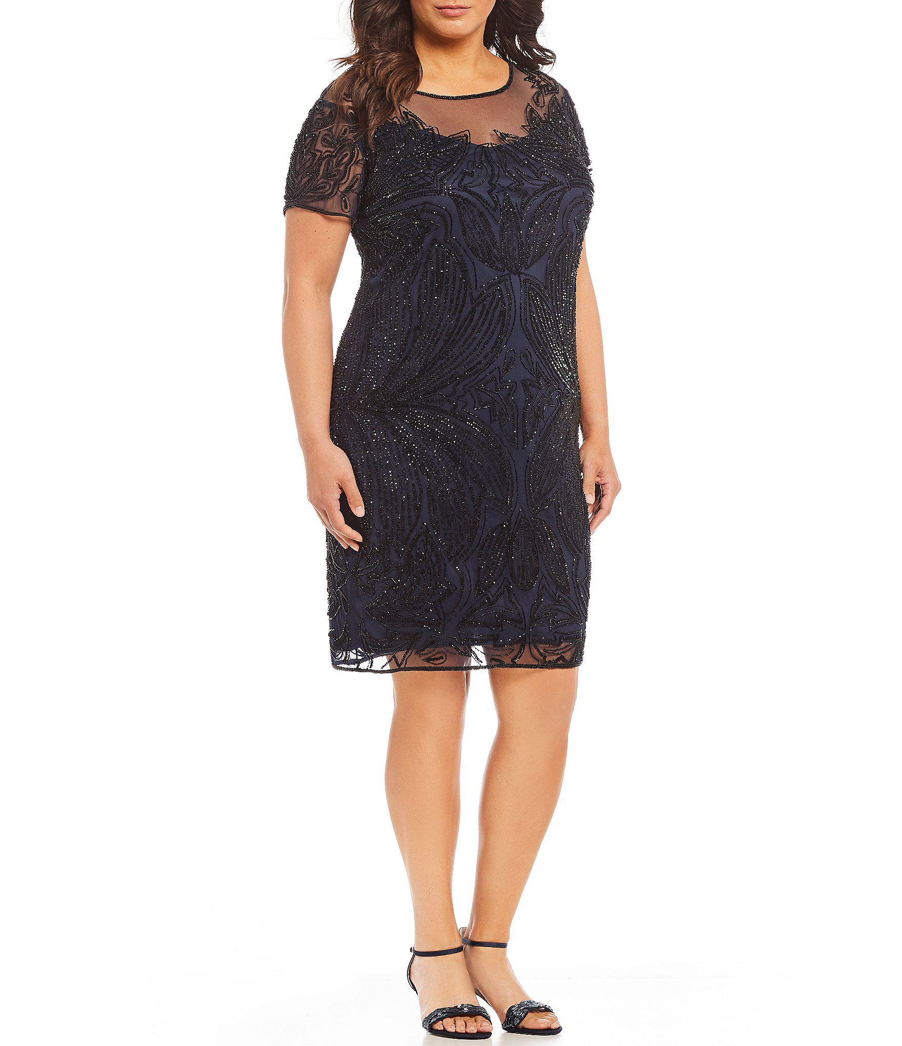 d8c2cbd2487 Lyst - Pisarro Nights Plus Beaded Illusion Dress in Black