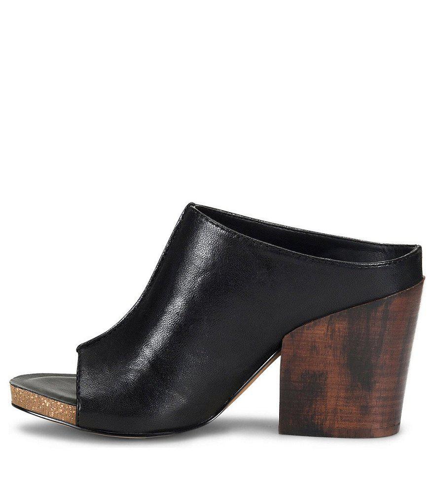 Isabella Leather Block Heel Clogs geBc9UA7
