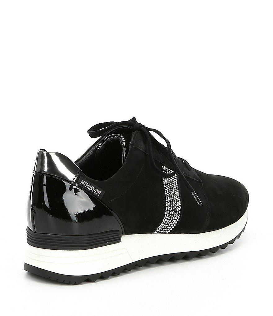 Mephisto Topazia Nubuck Leather Mini Crystal Encrusted Stripe Sneakers YmXFsGb