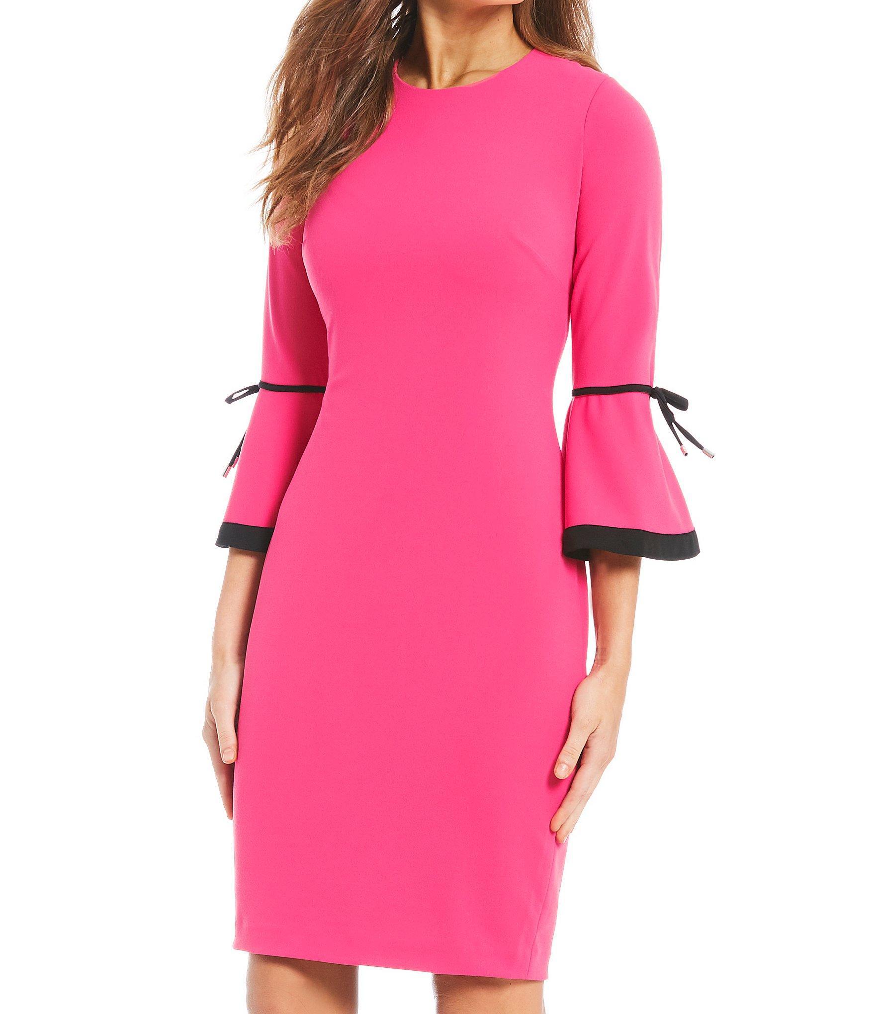 c0c2e101 Calvin Klein - Pink Contrast Trim Bell Sleeve Sheath Dress - Lyst. View  fullscreen