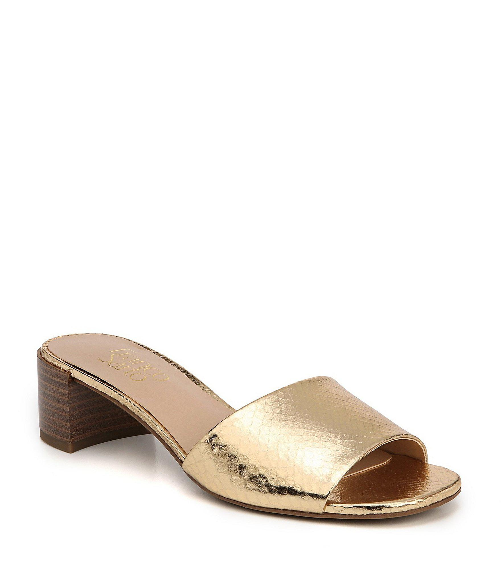 180da890d003 Franco Sarto Ramy Metallic Block Heel Slides in Metallic - Lyst