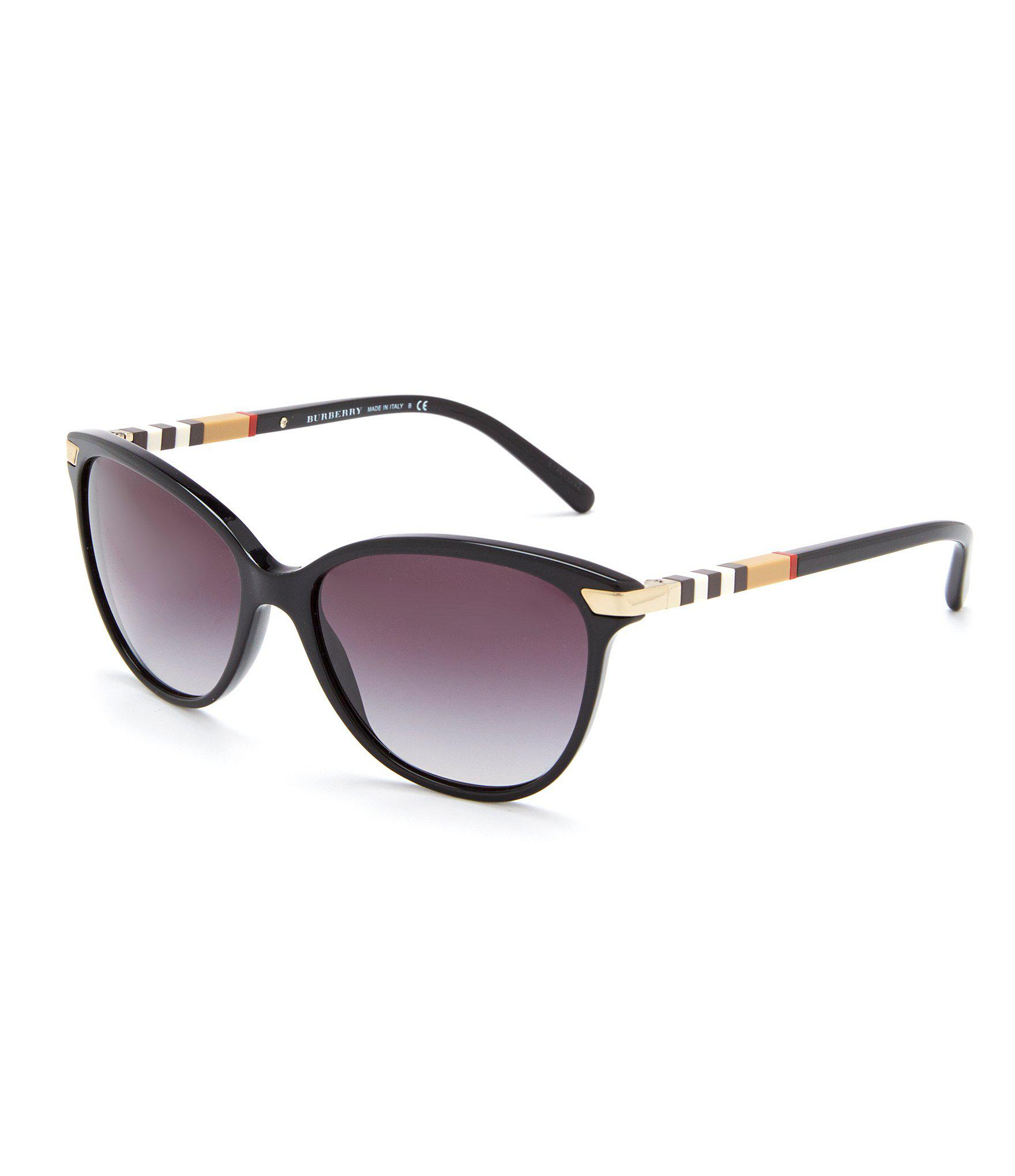 46208a066b60 Burberry Heritage Color Block Square Check Cat Eye Sunglasses in ...