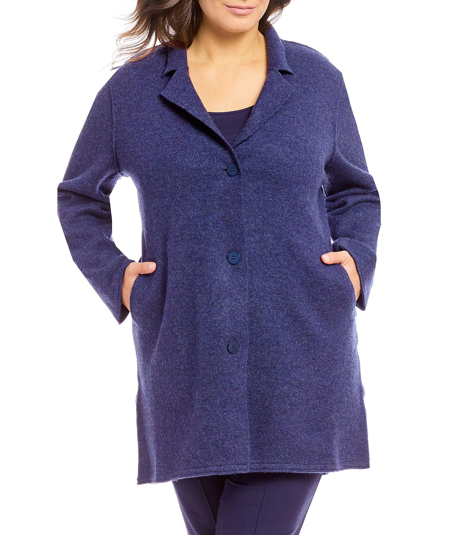 d4bedb8165e5b Lyst - Eileen Fisher Plus Size Notch Collar Long Jacket in Blue
