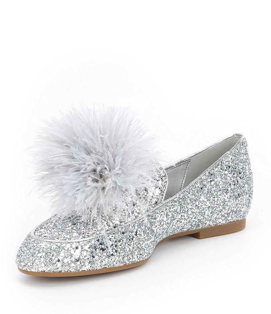 37c333fc6c6 Lyst - MICHAEL Michael Kors Fara Glitter Pom Pom Detail Loafers in Black
