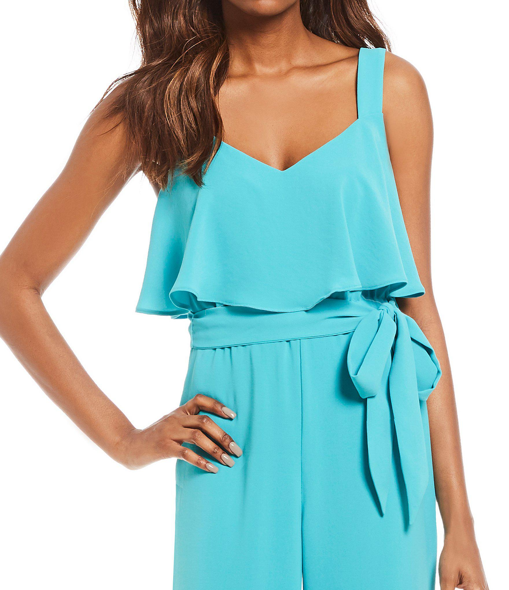 1e1331651d92 Lyst - Adrianna Papell Popover Tie Waist Crepe Jumpsuit in Blue