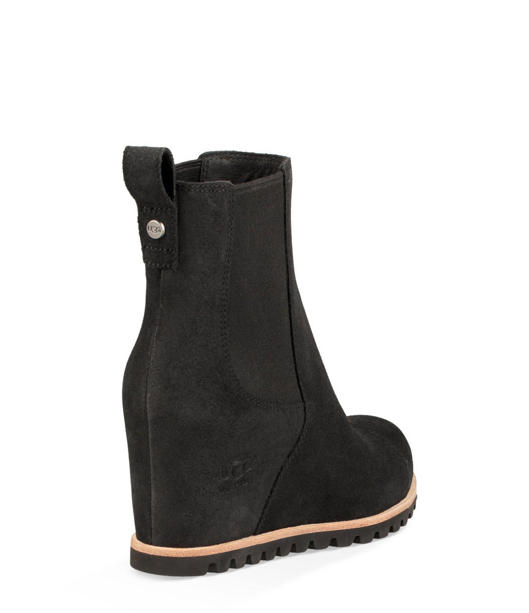 ae3645d80c2 UGG Pax Waterproof Leather Wedge Booties in Black - Lyst