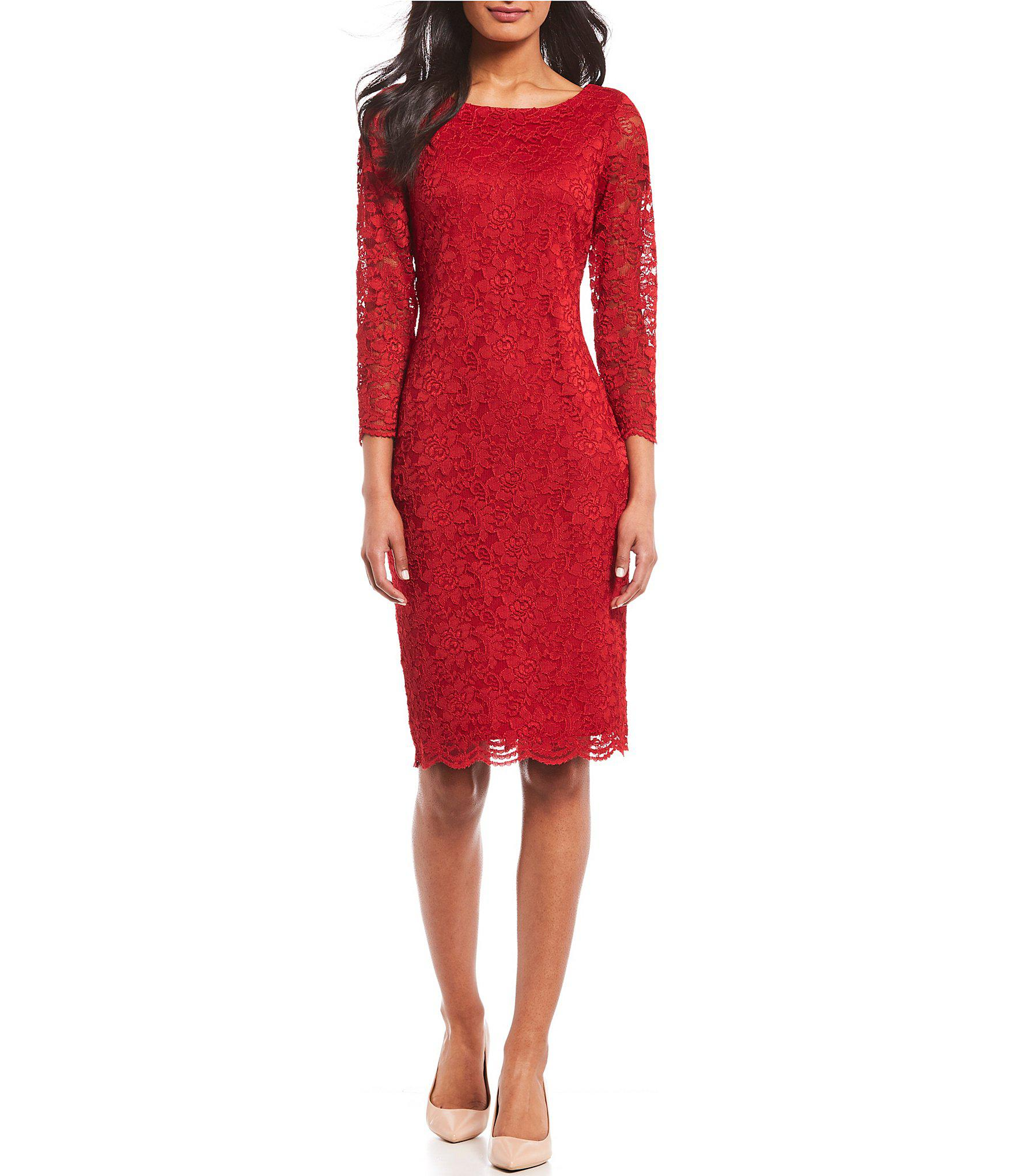 07a59bb9f67 Lyst - Calvin Klein 3 4 Sleeve Lace Sheath Dress in Red