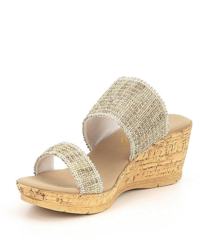 Onex Emmie Two Band Woven Wedges DMQ8hzFt