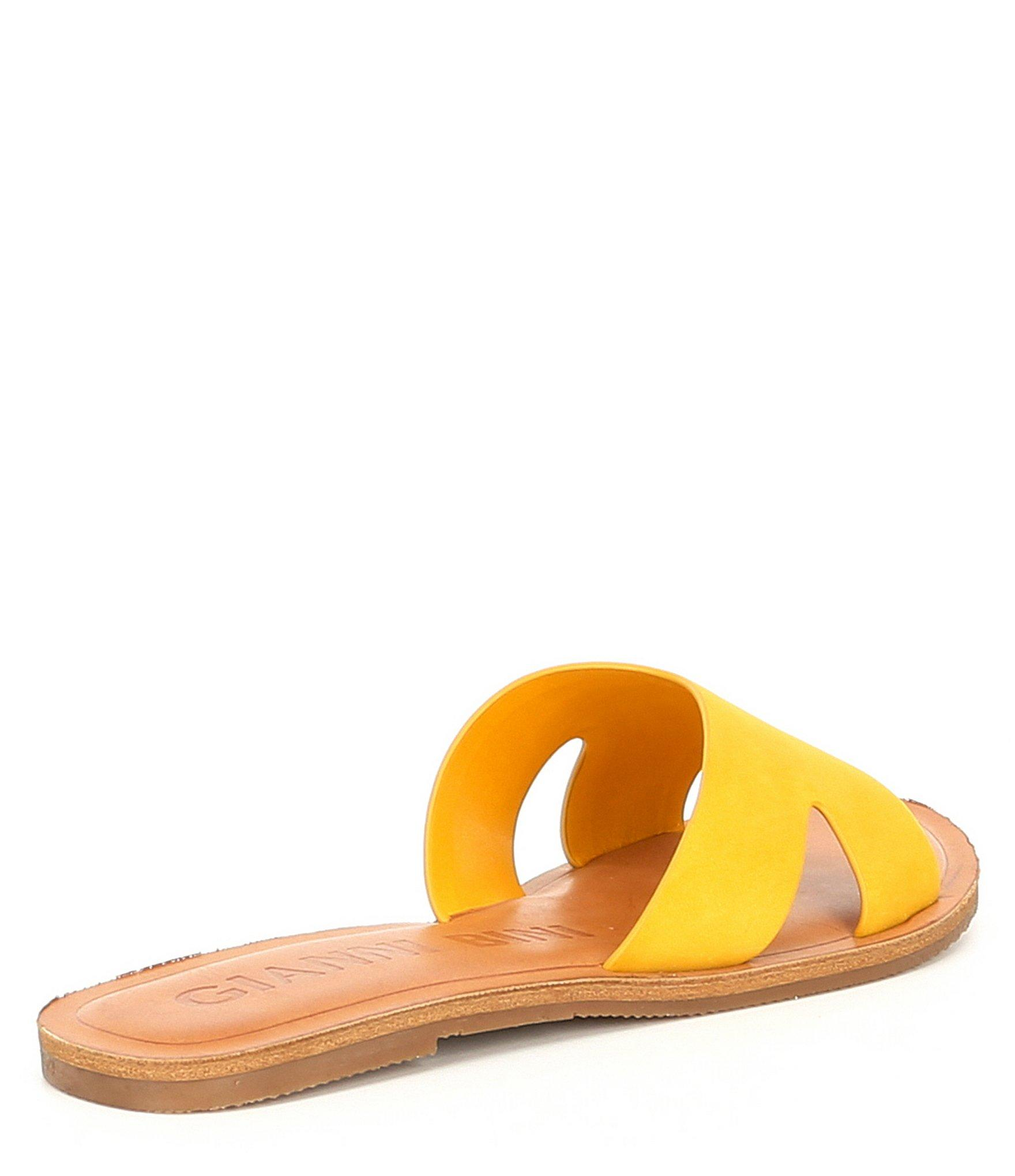 c4f0256f83f Lyst - Gianni Bini Stellie Nubuck Banded Slides in Yellow