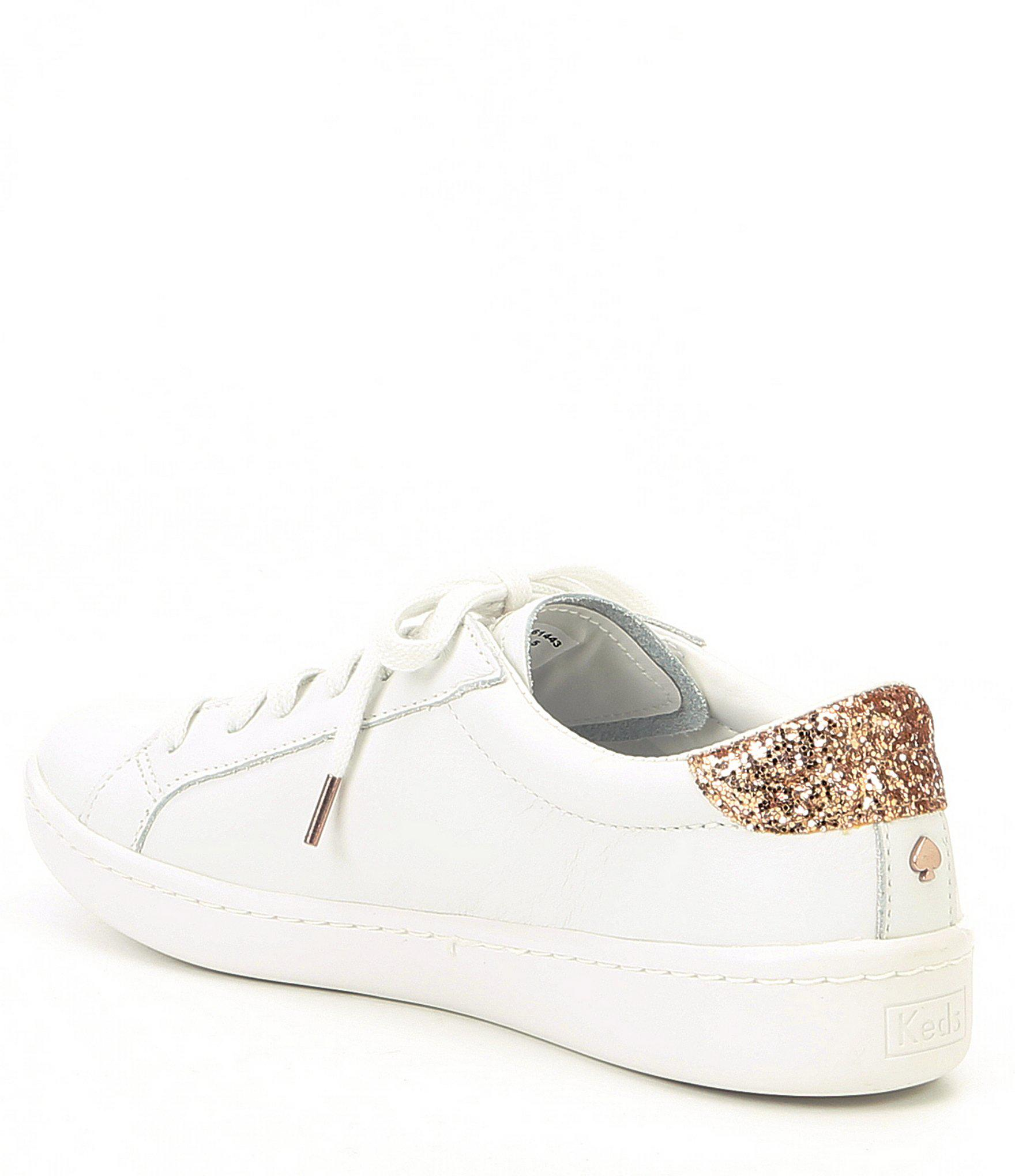 904bb4b4c5c5 Lyst - Kate Spade Keds X Ace Leather And Glitter Detail Sneakers in ...