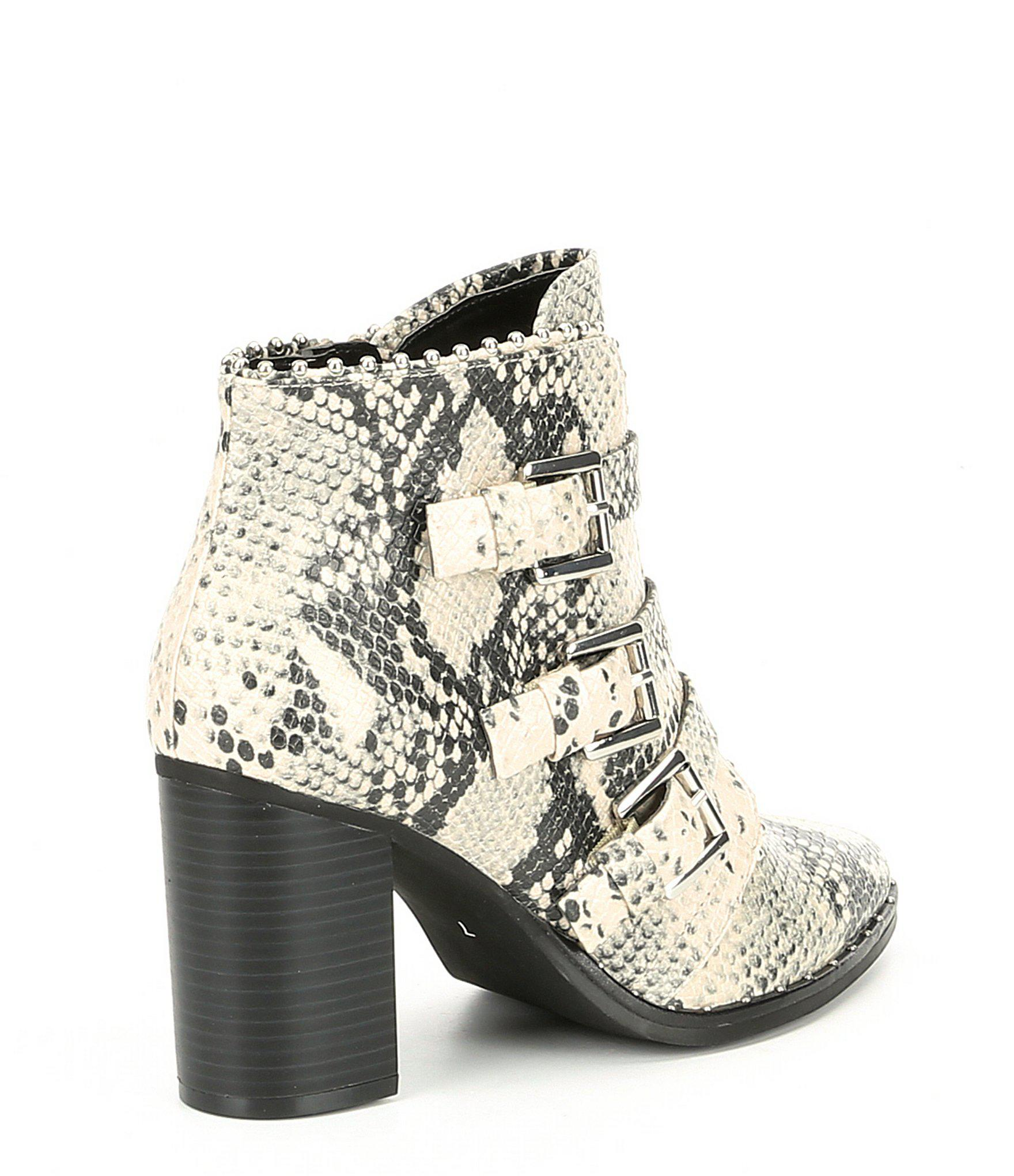 427be3bdcbf Lyst - Steve Madden Humble Snake Print Buckle Booties in Natural