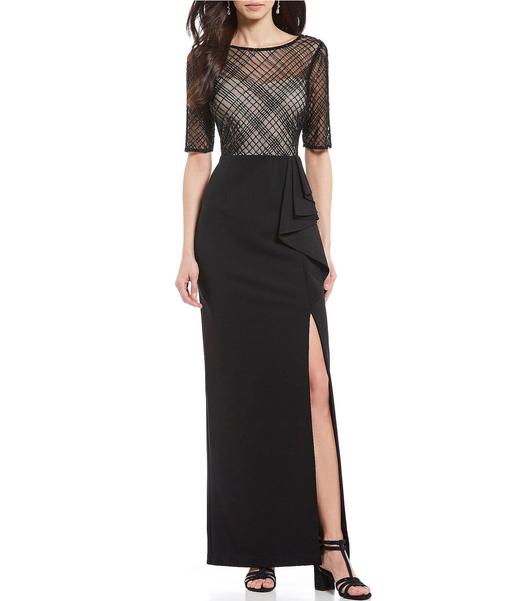 ba648c4c77c Adrianna Papell. Women s Black Illusion Beaded Bodice Ruffle Slit Front  Crepe Gown