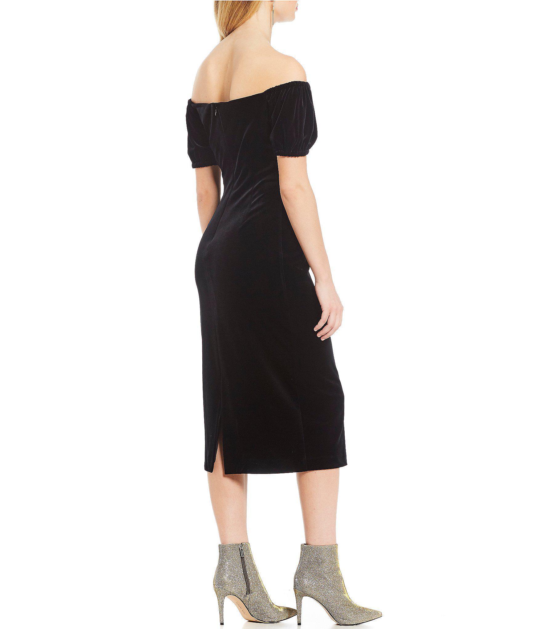 16d39e71f43 Gianni Bini - Black Stefi Off-the-shoulder Velvet Midi Length Sheath Dress  -. View fullscreen