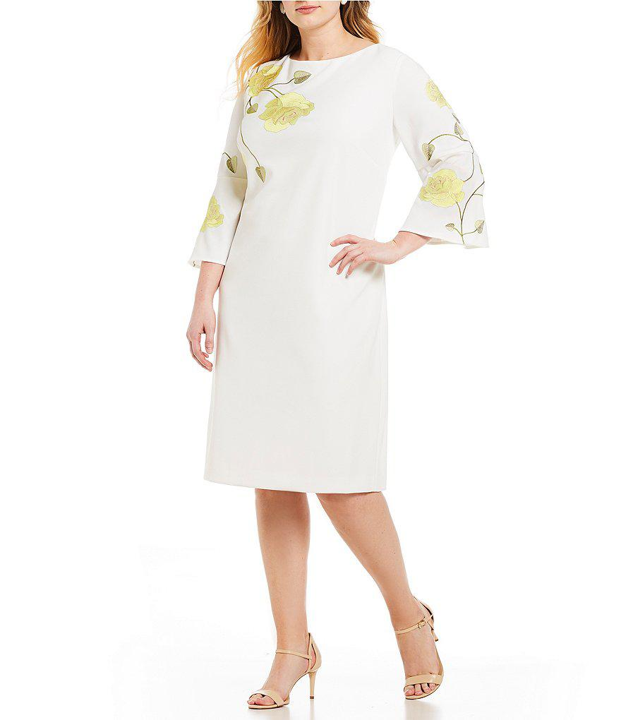 bae4b695ae5c Tahari Plus Size Rose Embroidered Long Bell Sleeve Shift Dress in ...
