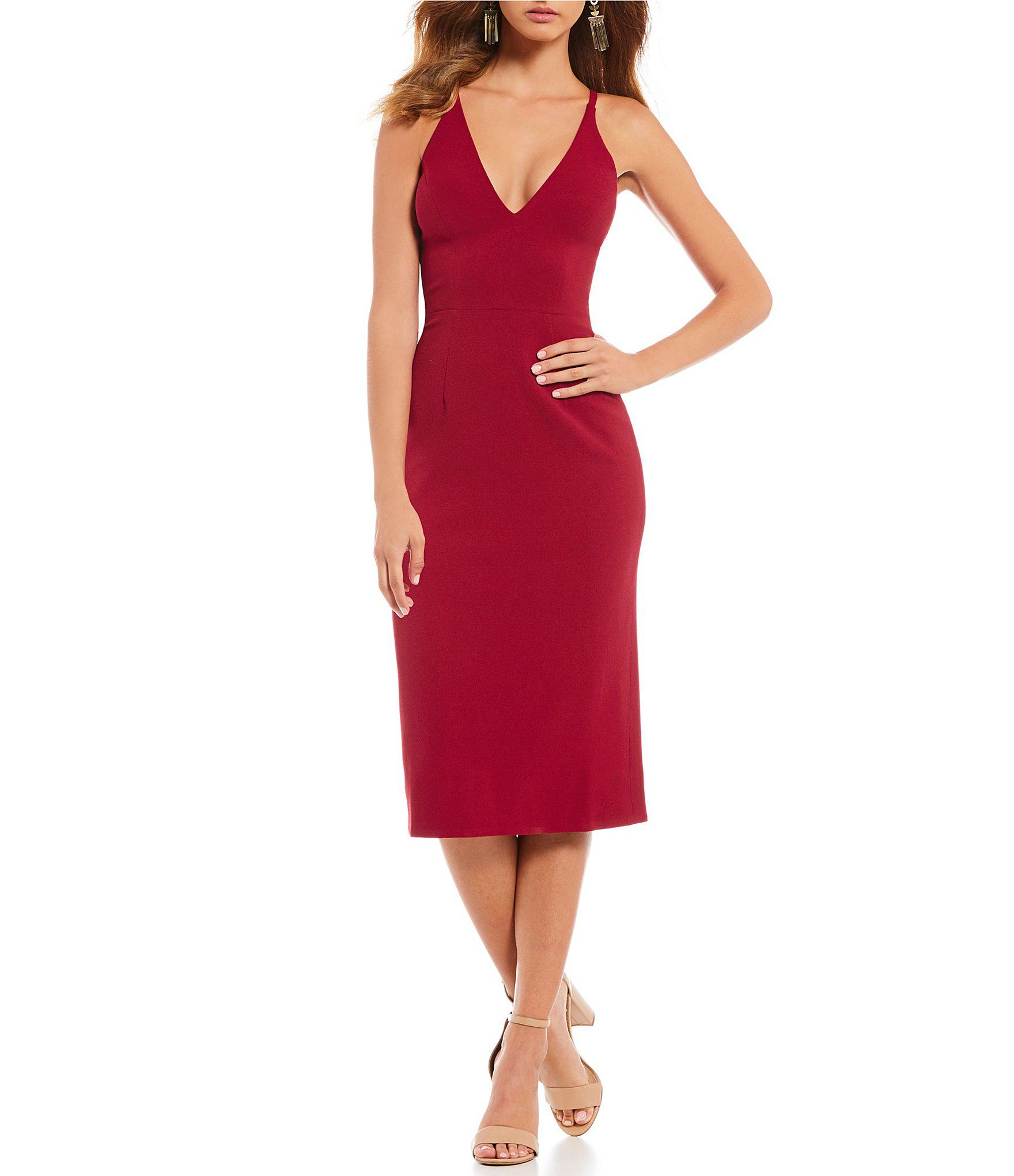 a5ab6460cff Lyst - Dress the Population Lyla Crepe Plunge Neck Midi Dress in Red