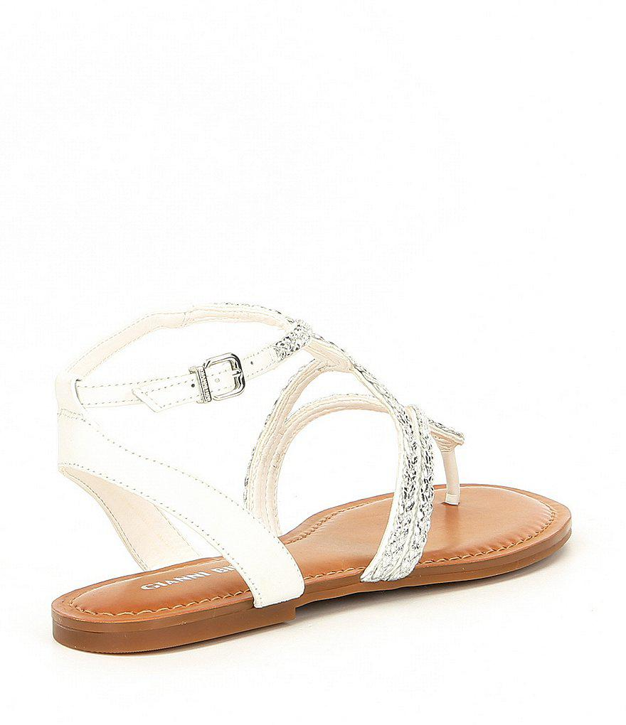 Teenuh Lizard Metallic Braided Flat Sandals Et81bf