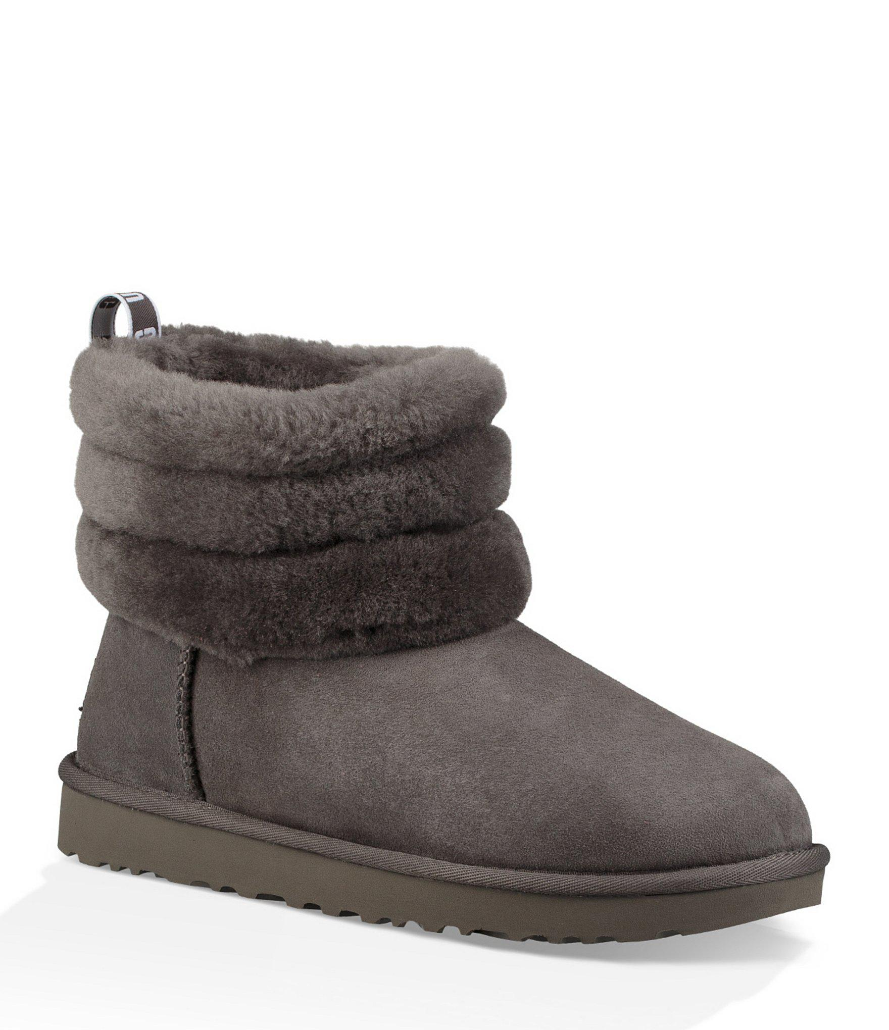3db439d29c5 Women's Gray Ugg Classic Mini Fluff Quilted Boot