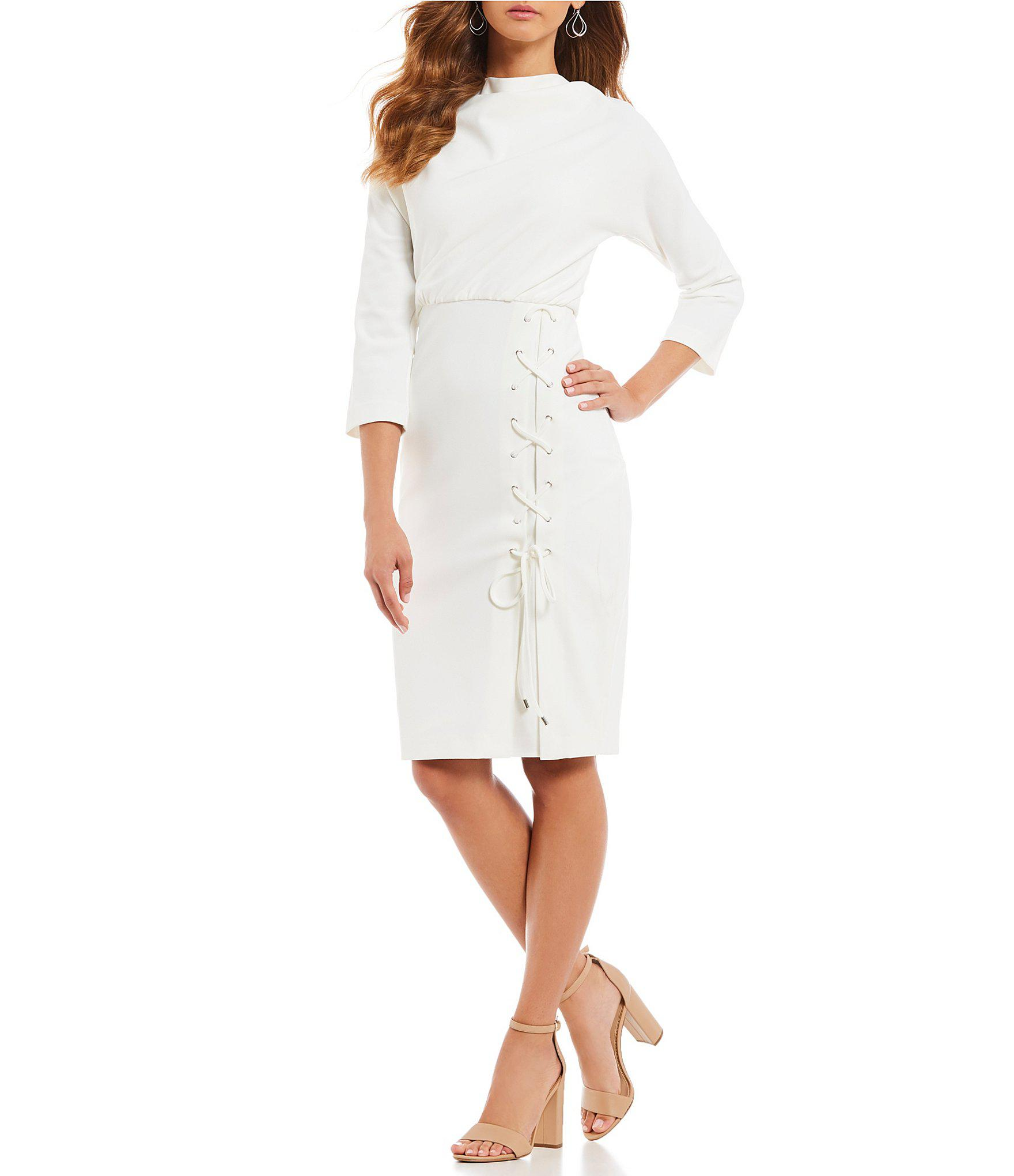 6d27cd4aa8d Lyst - Belle By Badgley Mischka Lace-up Dress in White