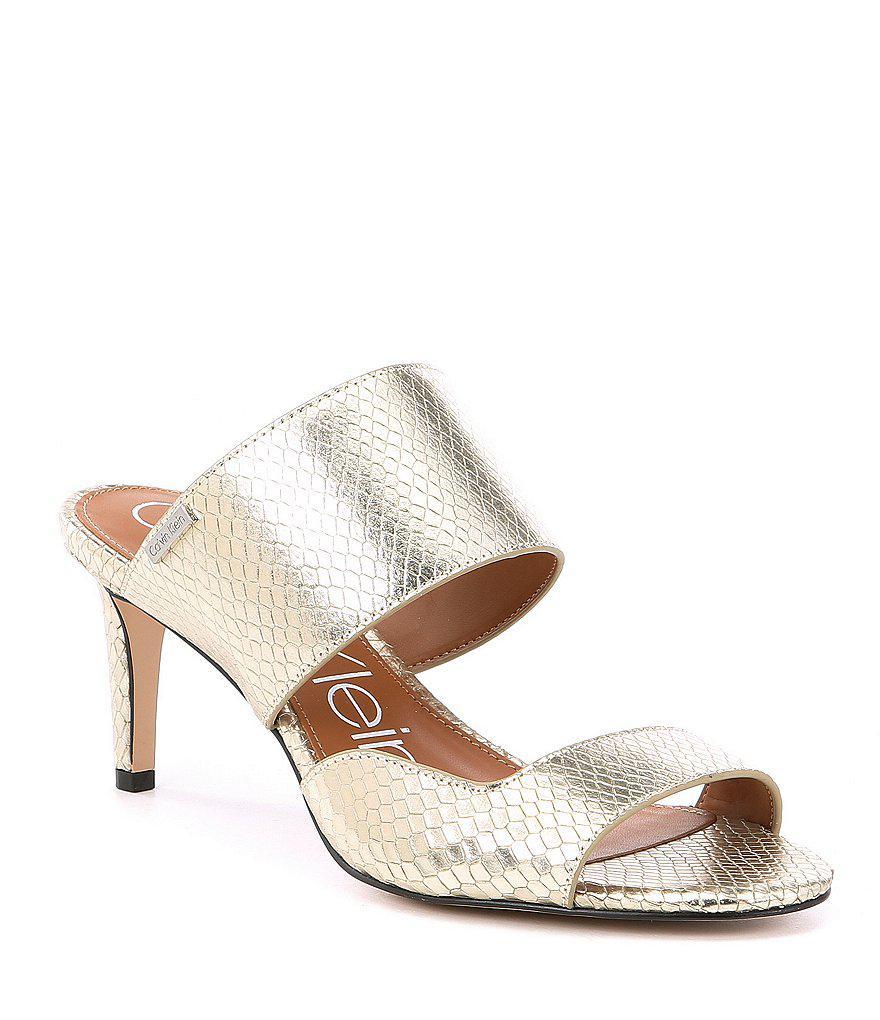 Calvin Klein Fernanda Snake Print Banded Ankle Strap Block Heel Sandals ORSvKT