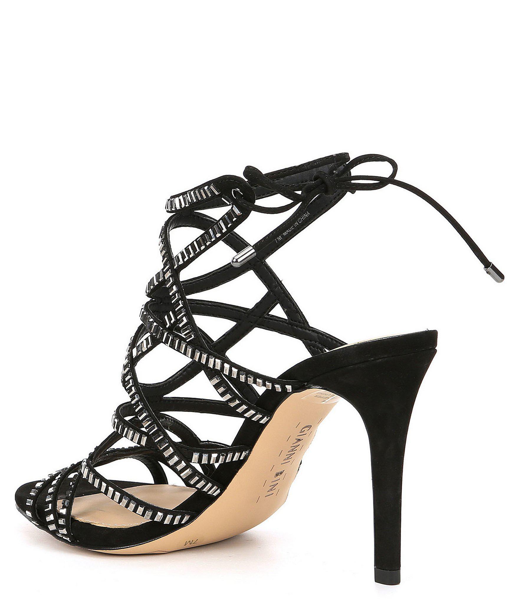 d93113f1be72 Gianni Bini - Black Kellzie Nubuck Jeweled Dress Sandals - Lyst. View  fullscreen