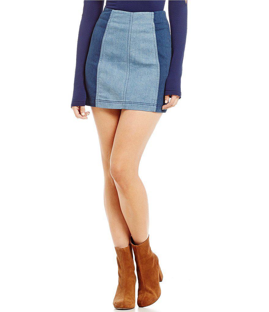 10b02e85a Free People Modern Femme Colorblock Mini Skirt in Blue - Lyst