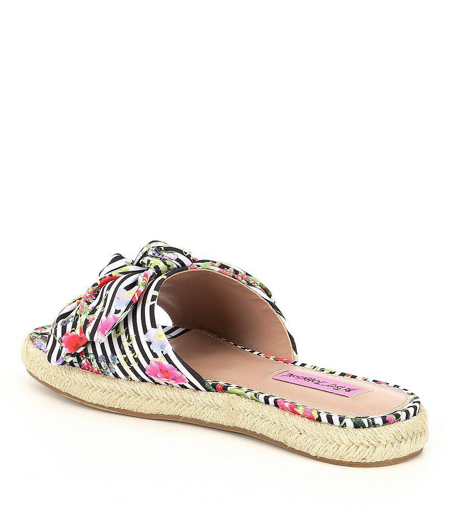 Betsey Johnson Jazzy Knotted Stripe Floral Print Espadrille Slide Sandals TZ6B1