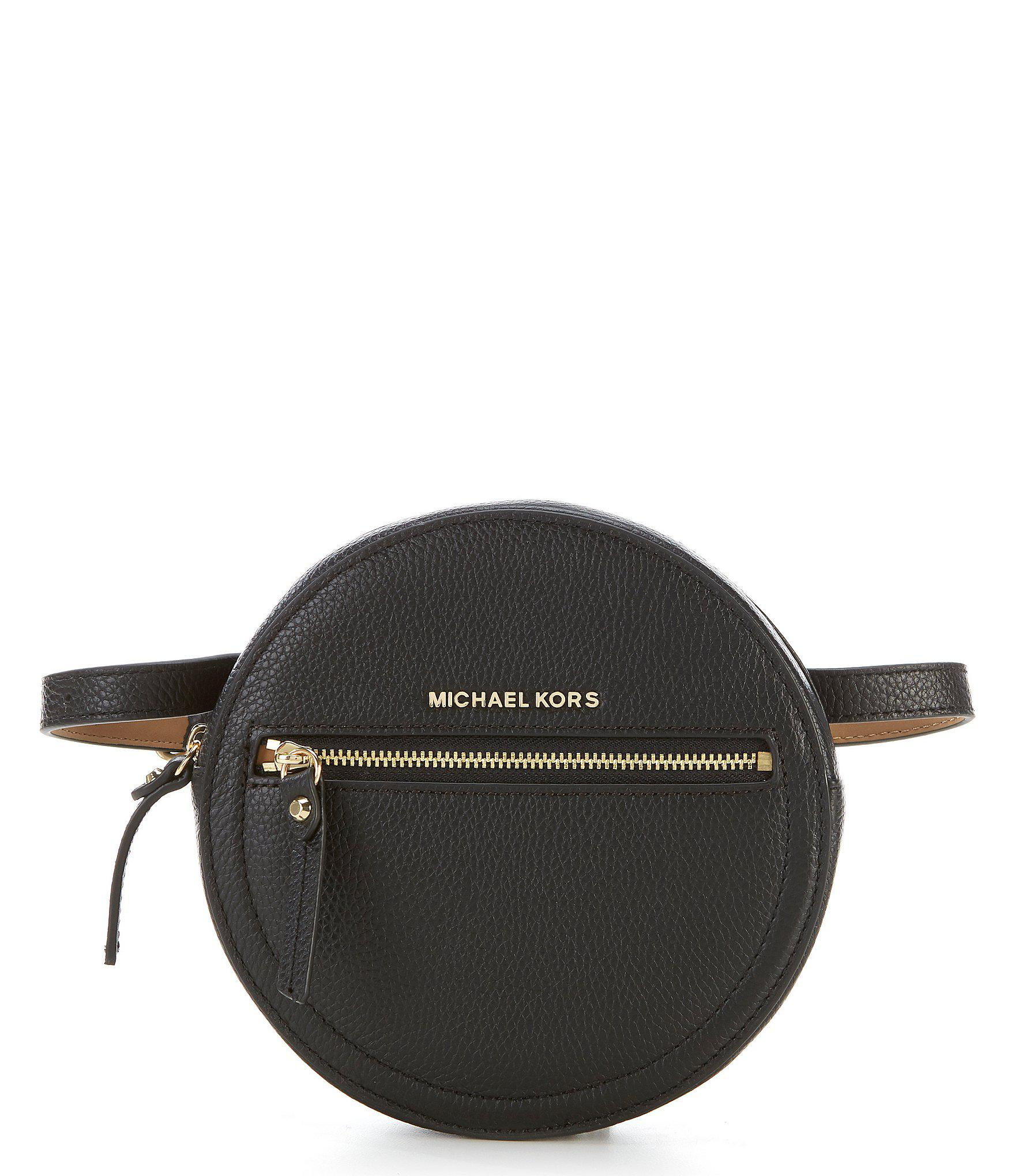 7808b2257b858 Lyst - Michael Kors Round Leather Belt Bag in Black