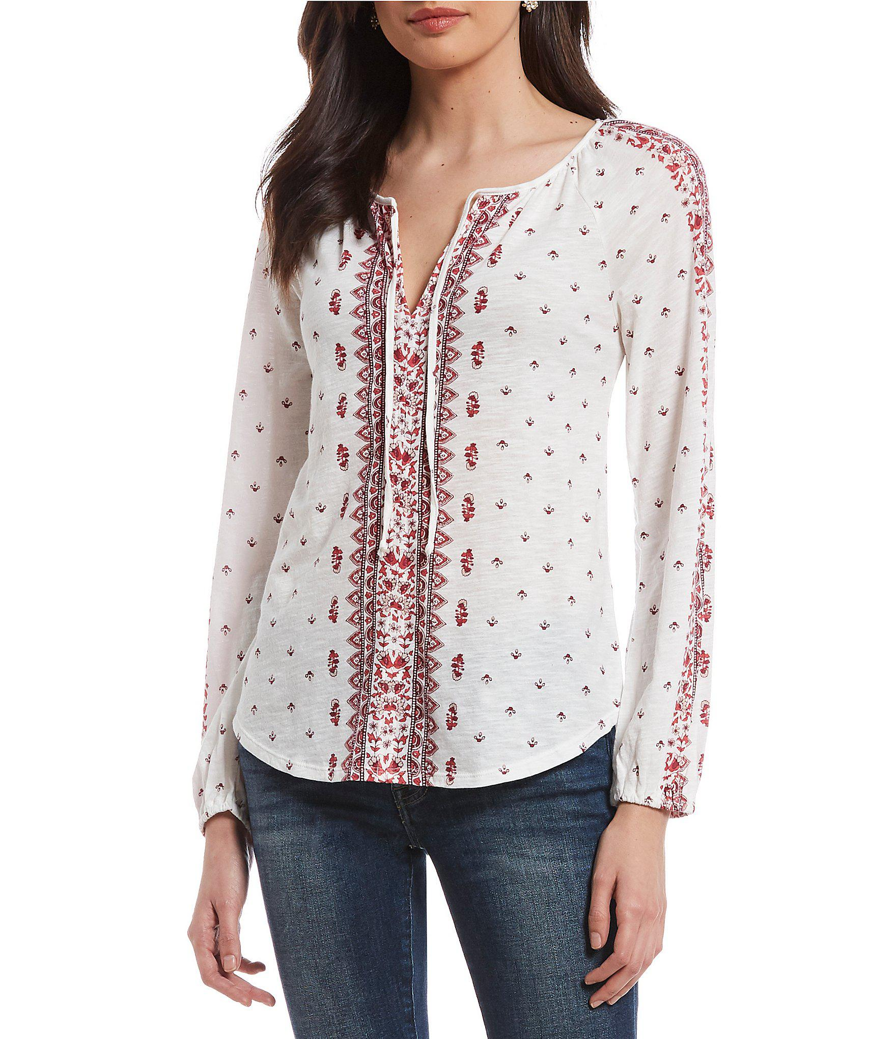 24608c9607a5b Lyst - Lucky Brand Split V-neck Scarf Print Peasant Top in Red