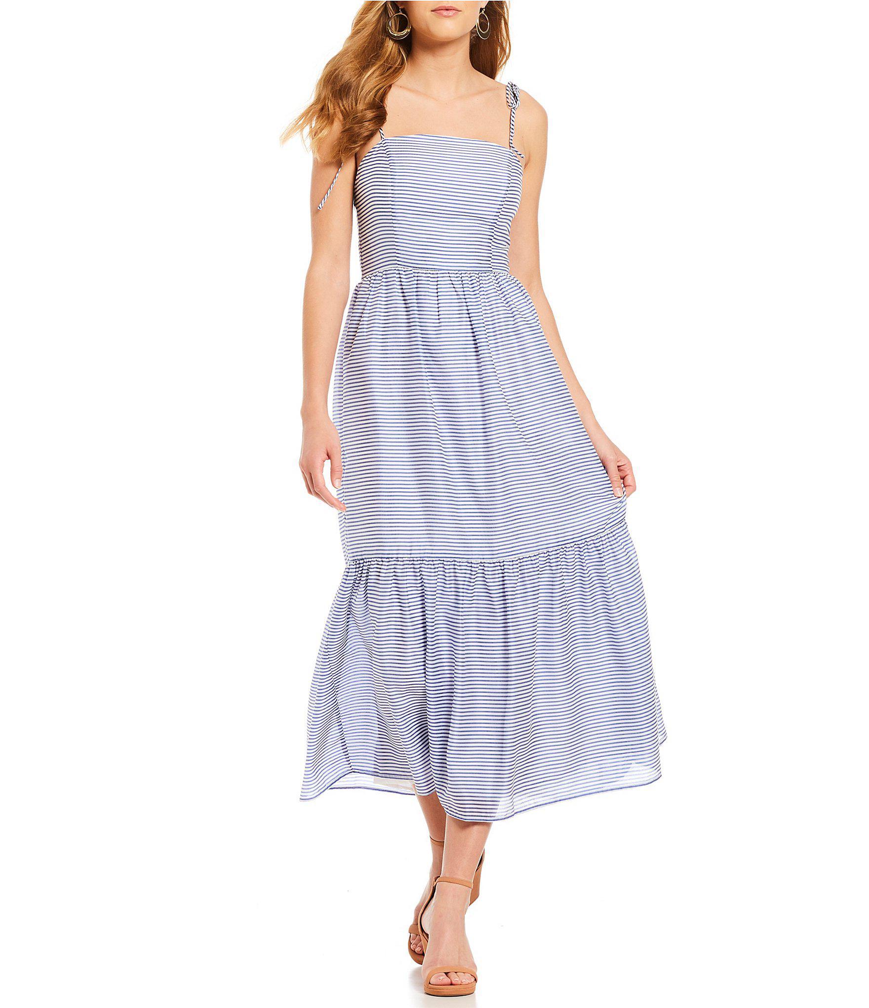 17c2f0702fe Gianni Bini Poppy Tie Strap Stripe Midi Dress in Blue - Lyst
