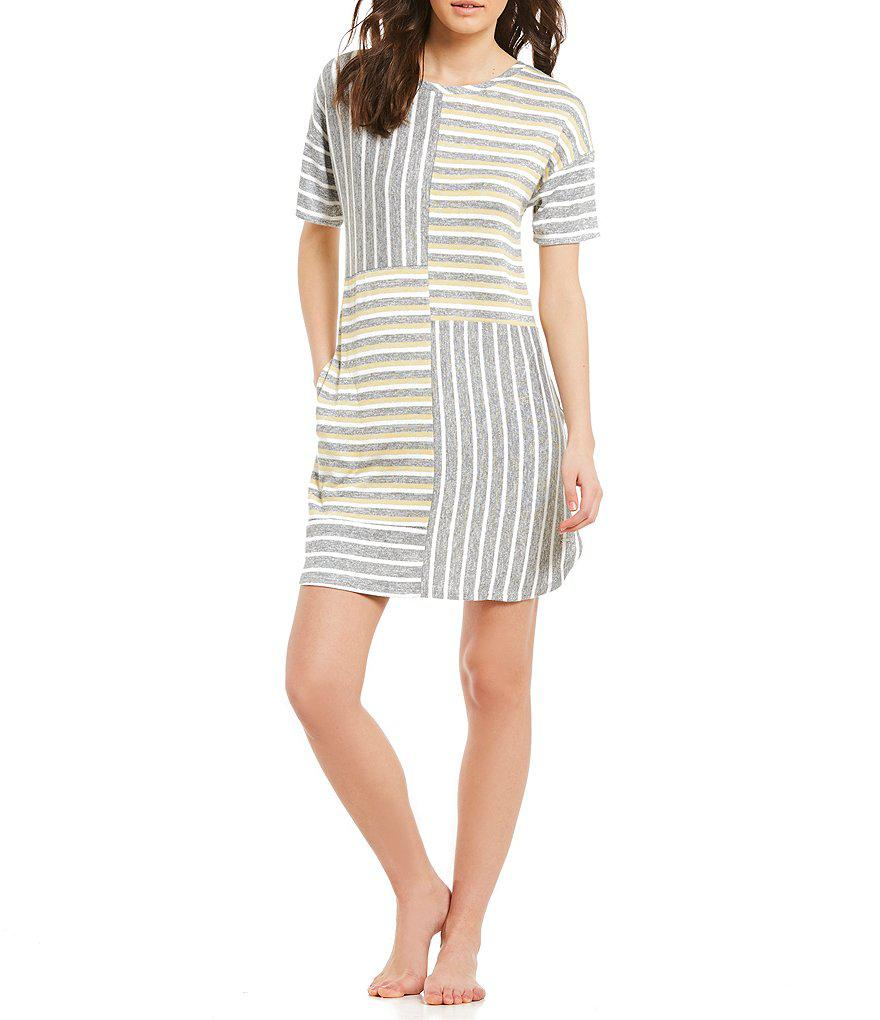 4f6608fbfba Kensie. Women s Striped-print Sweater Knit Jersey Sleepshirt
