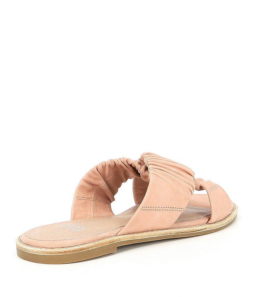 Nubuck Leather Cross Slide Sandals ghSneQuPHz