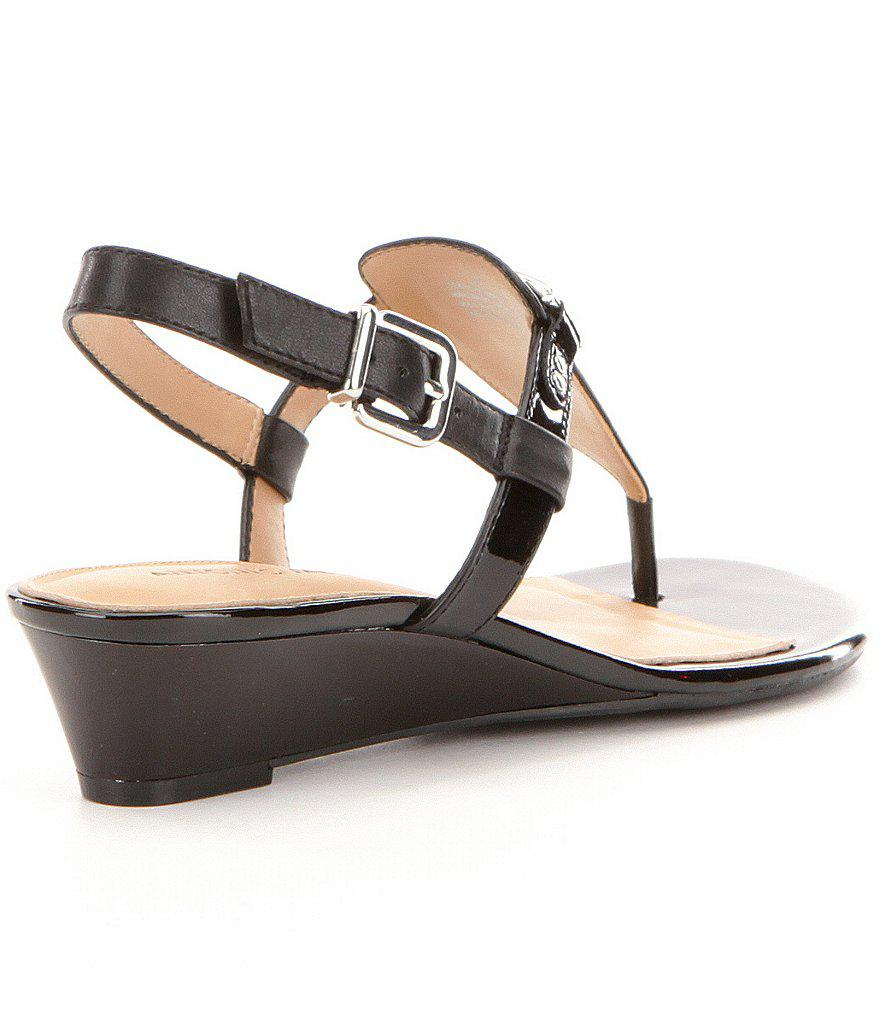 Amirah Leather Thong Wedge Sandals YcbiQL