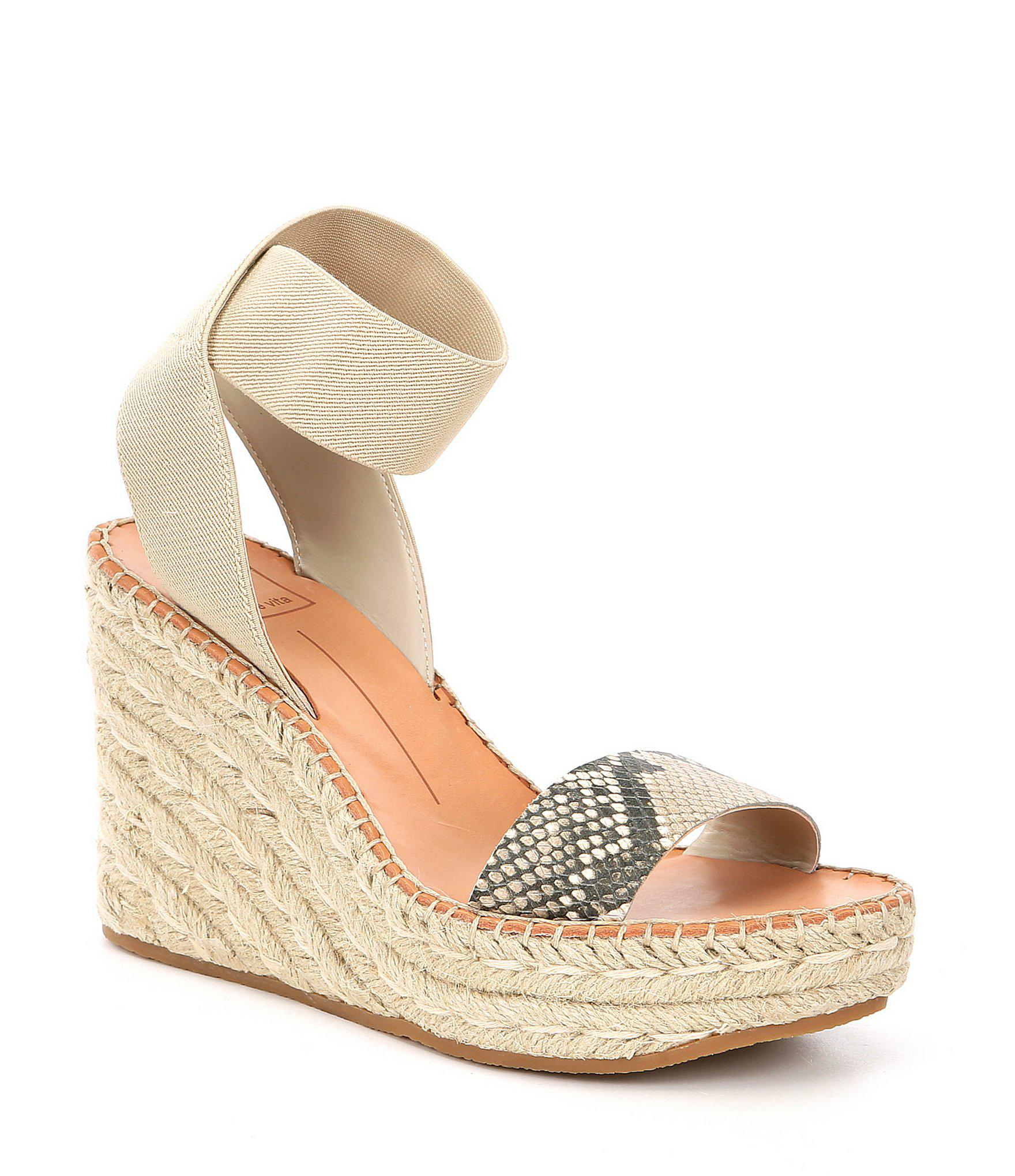 5b00eb0c08f Lyst - Dolce Vita Pavlin Snake Print Espadrille Wedge Sandals