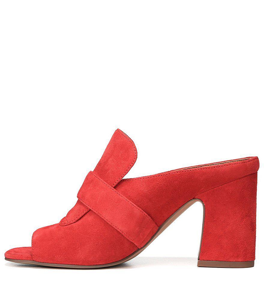 Sarto by Franco Sarto Rosalie Leather Block Heel Mules HoTQBOt5c