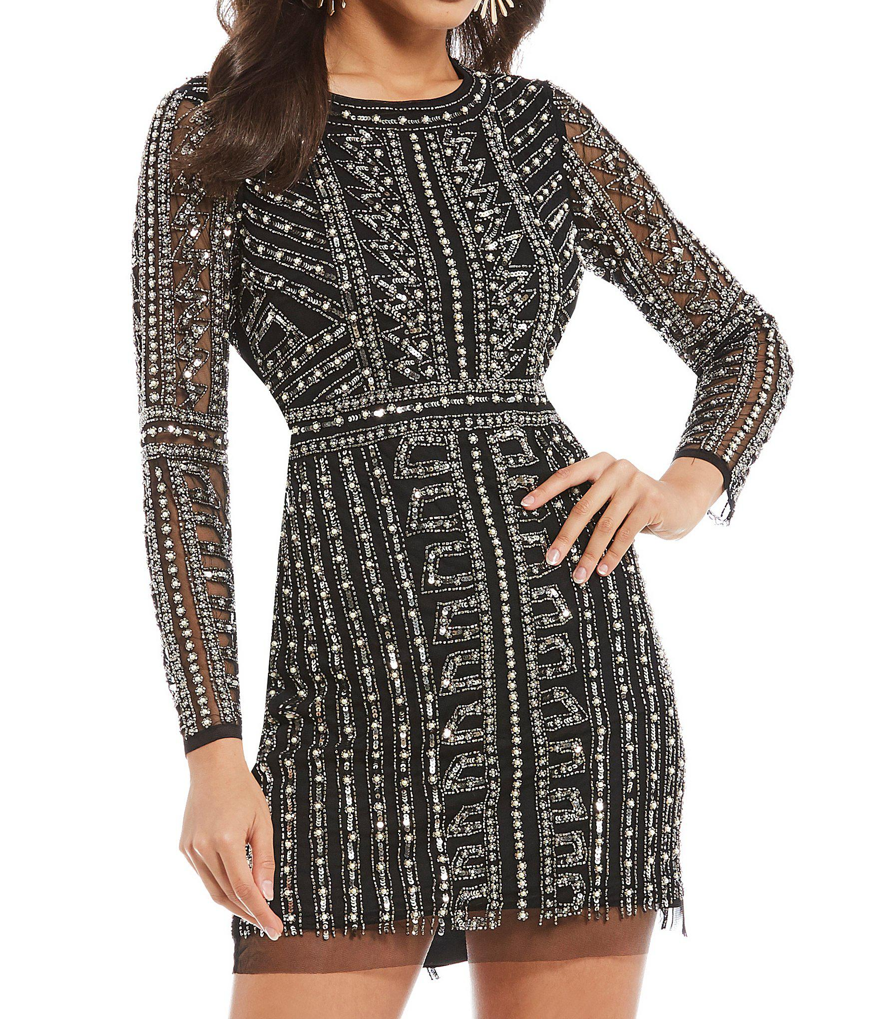 3049d1c0a6 Gianni Bini Dani Pearl Beaded Illusion Sleeve Mini Dress in Black - Lyst