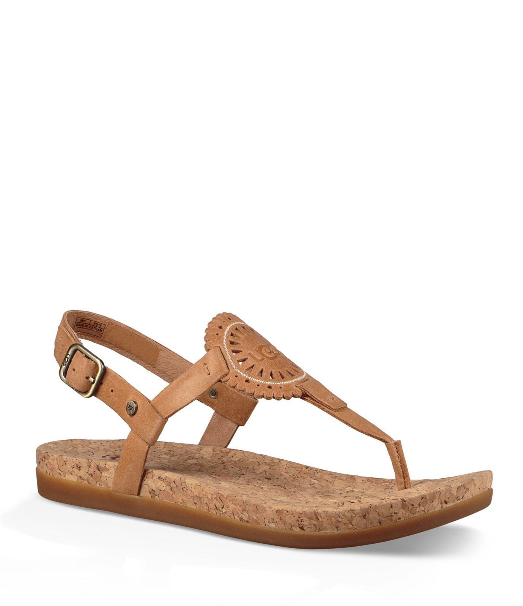 b98546485d87c Lyst - UGG Ayden Ii Leather   Cork Thong Sandals in Brown