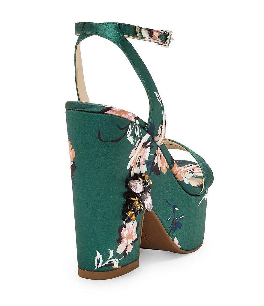 Carena Satin Floral Print Ankle Strap Platform Embellished Dress Sandals D8INMRtNo5