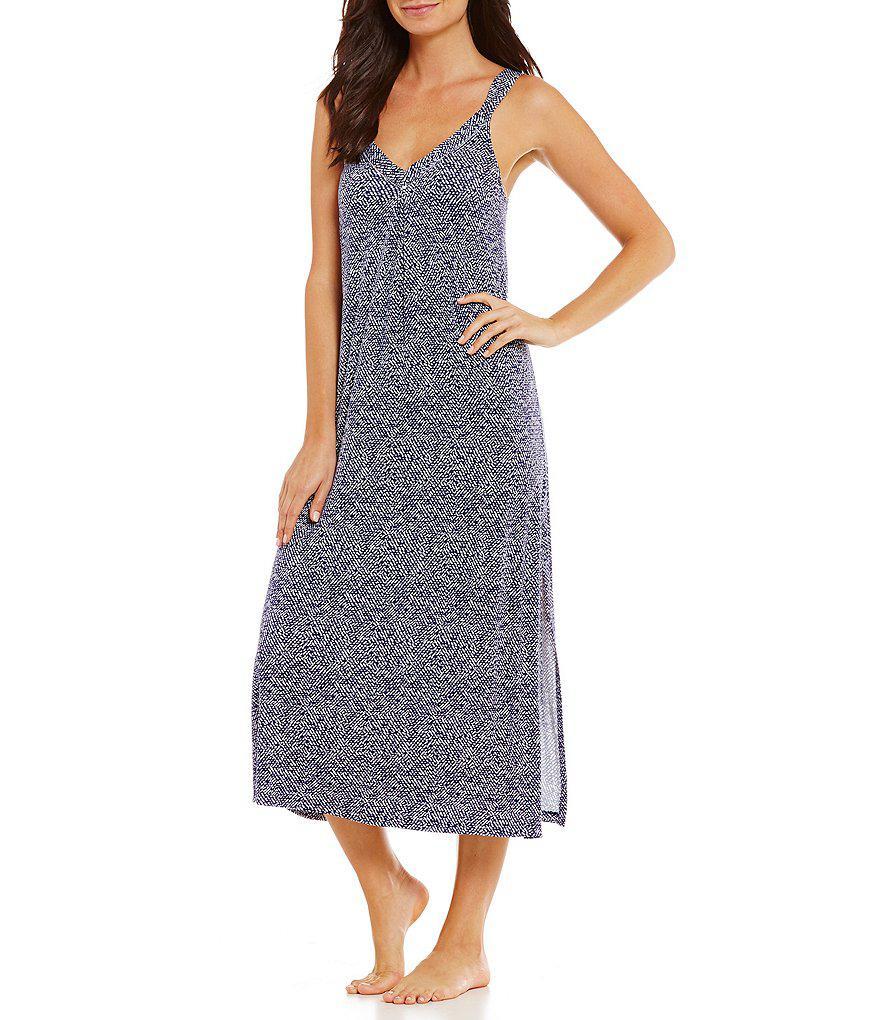 bfbc156042 Lyst - Oscar De La Renta Pink Label Herringbone-print Nightgown in Blue