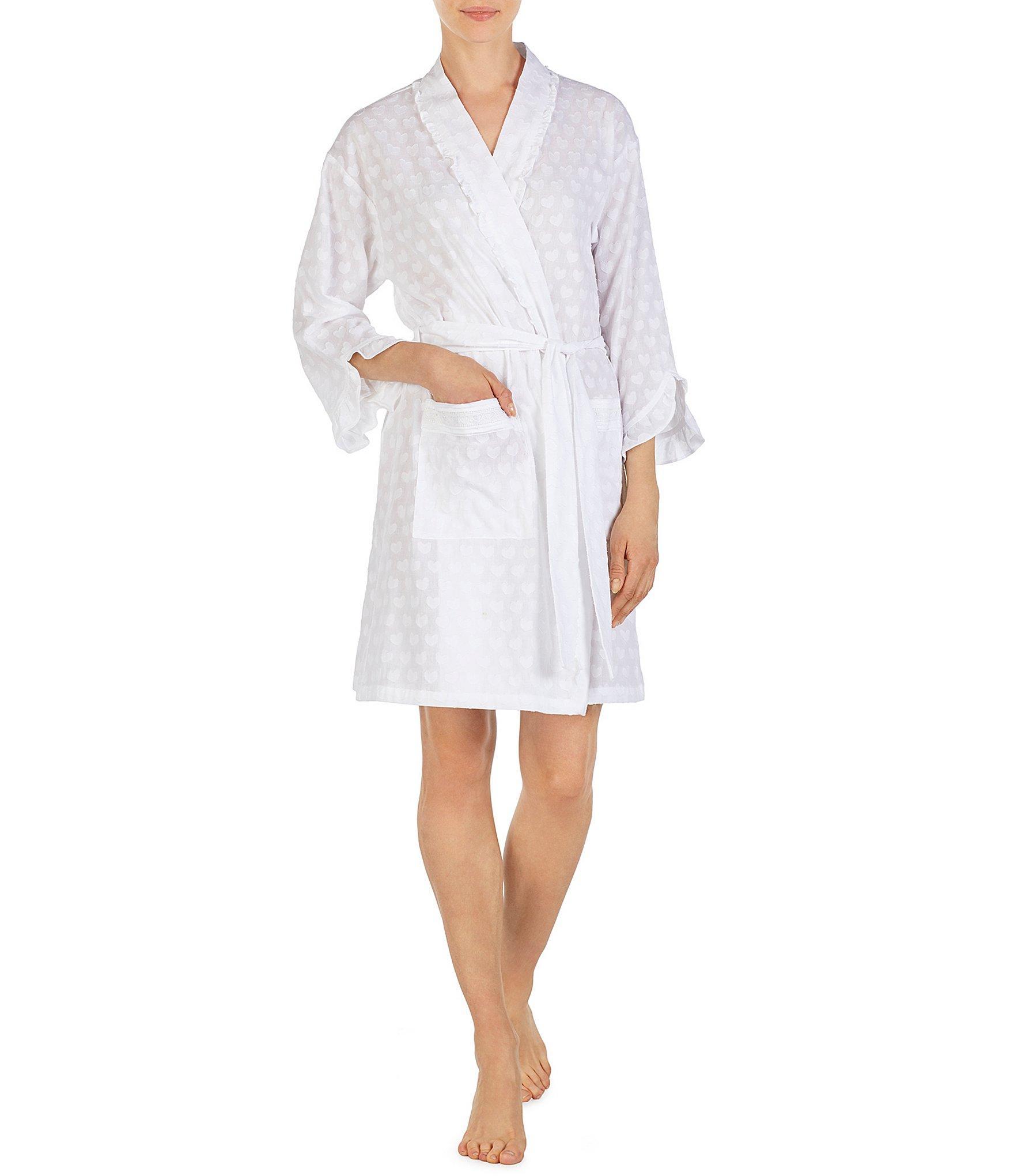d1883f60e6 Lyst - Eileen West Lawn Heart Print Short Wrap Robe in White